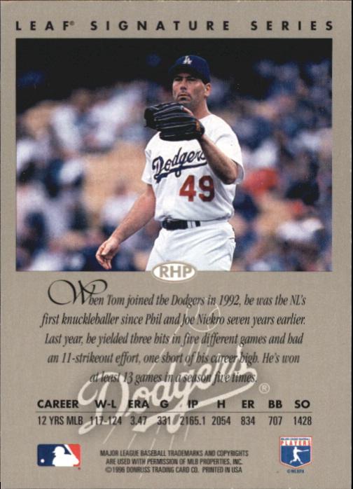 1996 Leaf Signature Autographs #39 Tom Candiotti back image