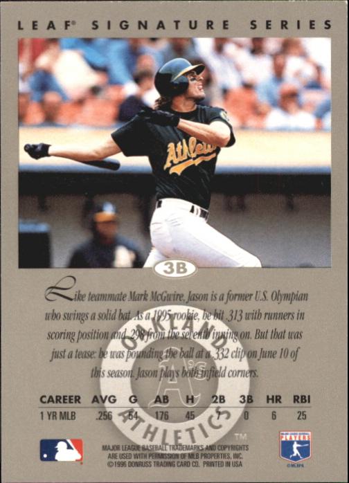 1996 Leaf Signature Autographs #77 Jason Giambi back image