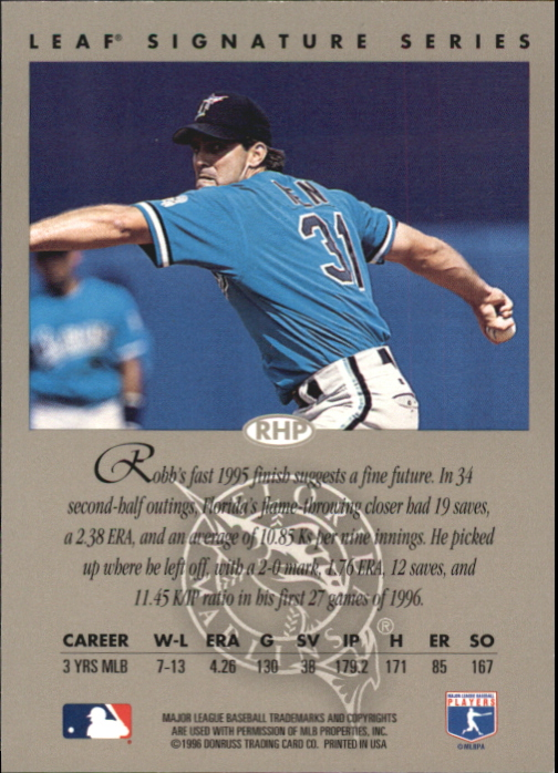1996 Leaf Signature Autographs #167 Robb Nen back image