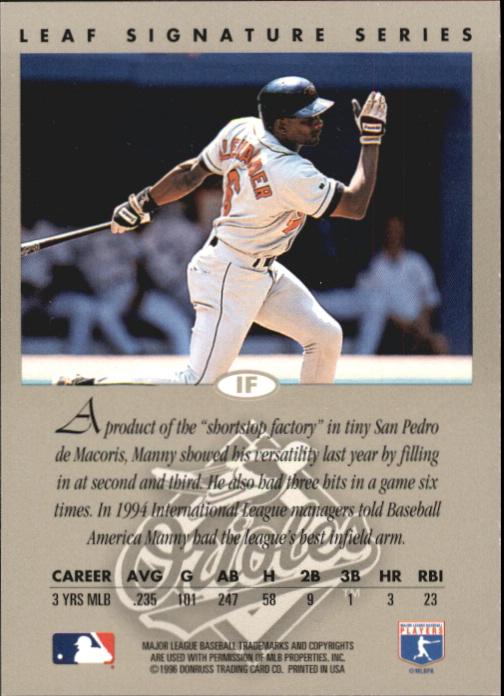1996 Leaf Signature Autographs Gold #4 Manny Alexander back image