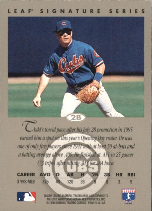 1996 Leaf Signature Autographs Gold #94 Todd Haney back image