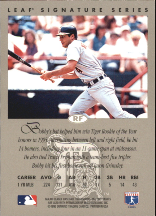 1996 Leaf Signature Autographs Gold #101 Bobby Higginson back image