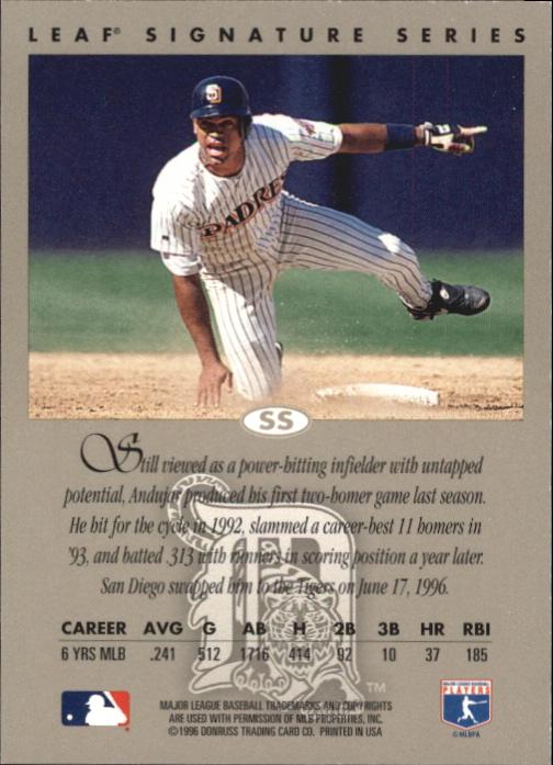 1996 Leaf Signature Autographs Silver #41 Andujar Cedeno back image
