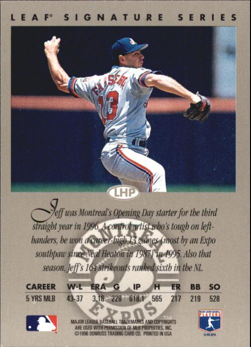 1996 Leaf Signature Autographs Silver #66 Jeff Fassero back image