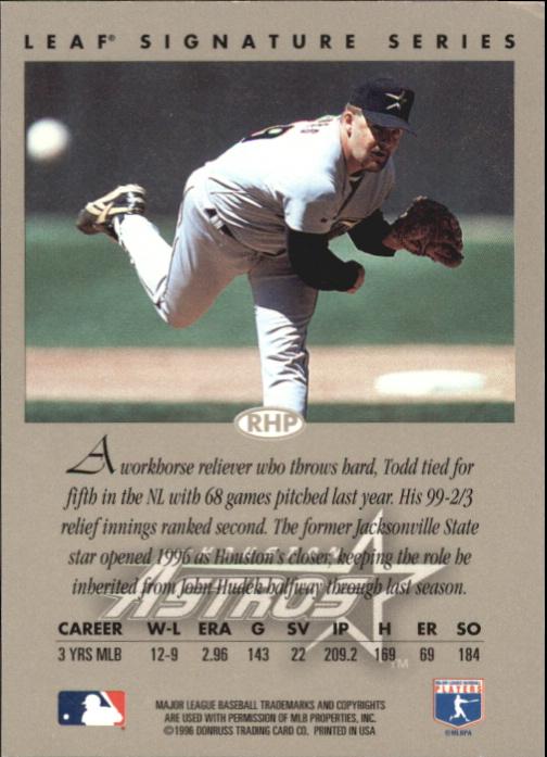 1996 Leaf Signature Autographs Silver #120 Todd Jones back image