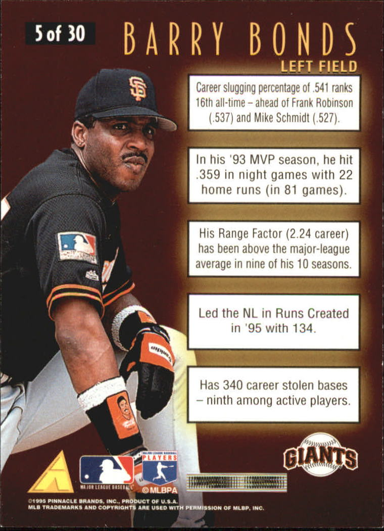 1996 Score Numbers Game #5 Barry Bonds back image