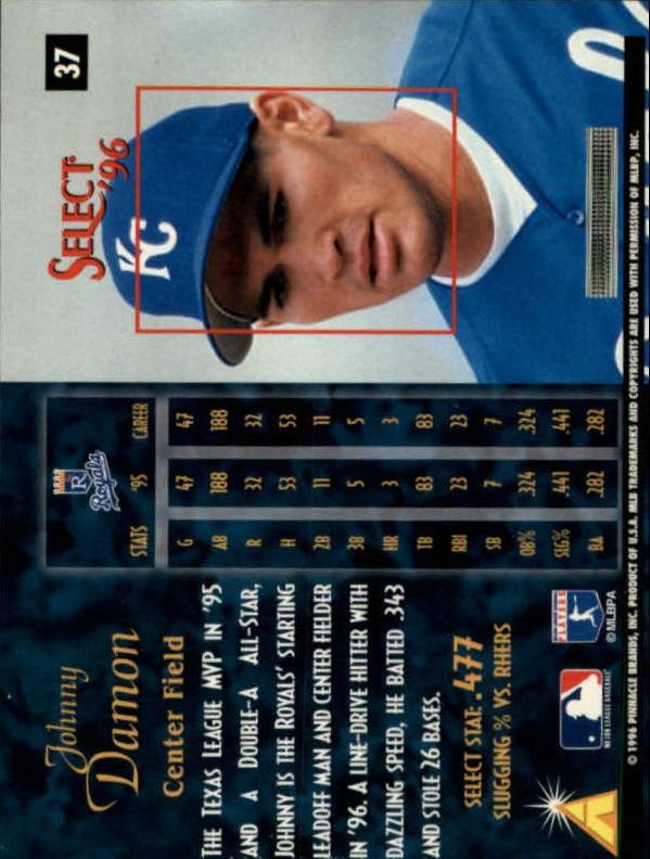1996 Select #37 Johnny Damon back image
