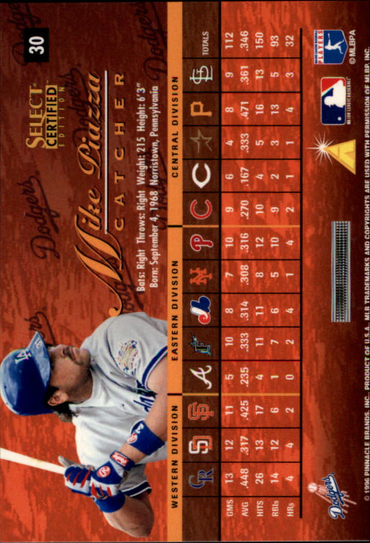 1996 Select Certified #30 Mike Piazza back image
