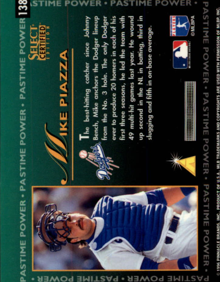 1996 Select Certified #138 Mike Piazza PP back image