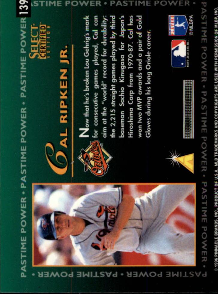 1996 Select Certified #139 Cal Ripken PP back image
