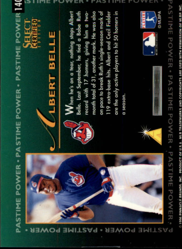 1996 Select Certified #140 Albert Belle PP back image