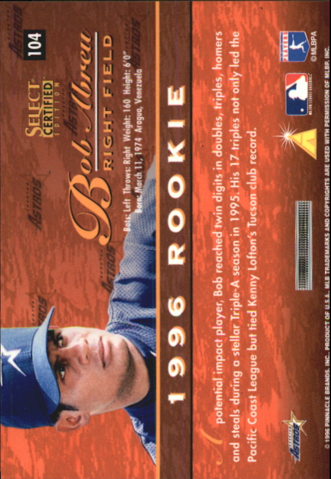1996 Select Certified Artist's Proofs #104 Bob Abreu back image