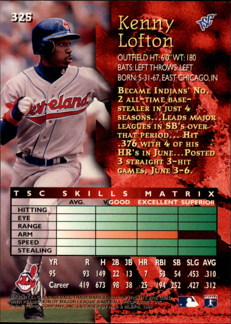 1996 Stadium Club #325 Kenny Lofton back image
