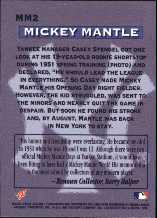 1996 Stadium Club Mantle #MM2 Mickey Mantle back image