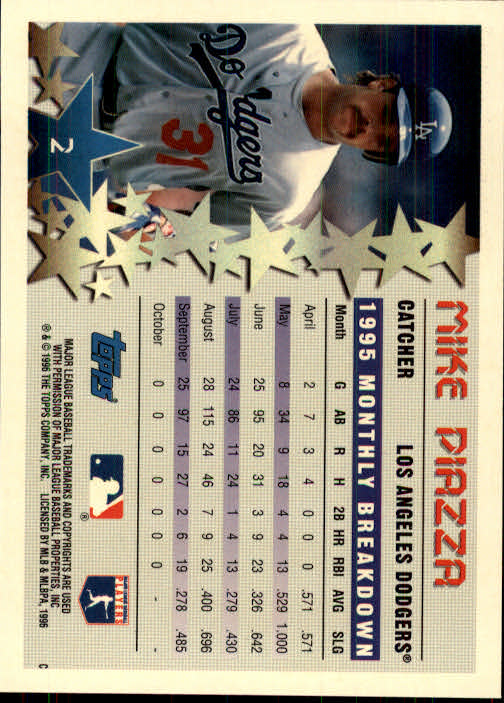 1996 Topps #2 Mike Piazza STP back image