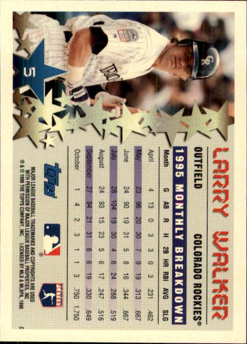 1996 Topps #5 Larry Walker STP back image