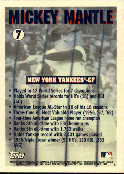 1996 Topps #7 Mickey Mantle back image