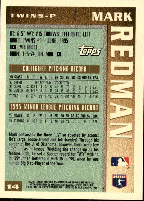 1996 Topps #14 Mark Redman back image