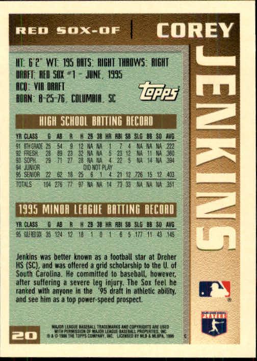 1996 Topps #20 Corey Jenkins back image