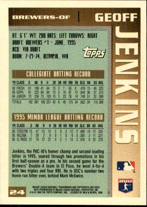 1996 Topps #24 Geoff Jenkins RC back image