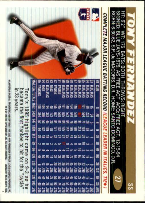 1996 Topps #27 Tony Fernandez back image