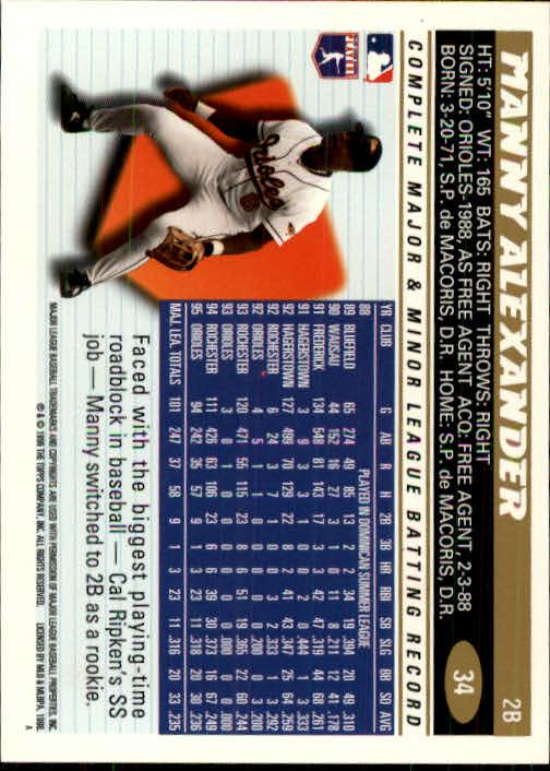 1996 Topps #34 Manny Alexander back image