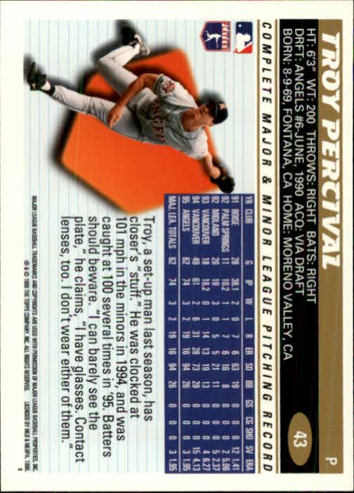 1996 Topps #43 Troy Percival back image