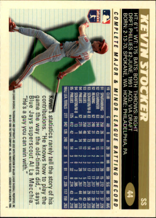 1996 Topps #44 Kevin Stocker back image