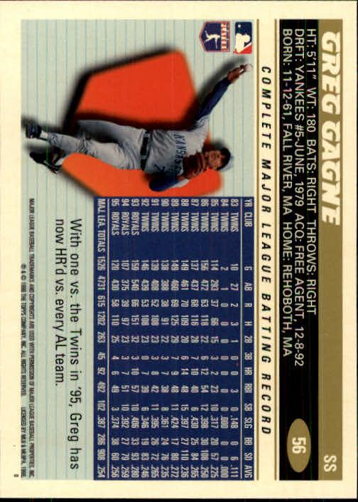 1996 Topps #56 Greg Gagne back image
