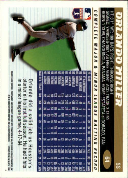 1996 Topps #64 Orlando Miller back image