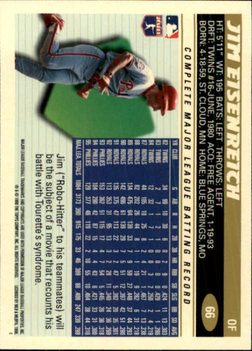 1996 Topps #66 Jim Eisenreich back image