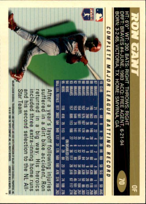 1996 Topps #70 Ron Gant back image