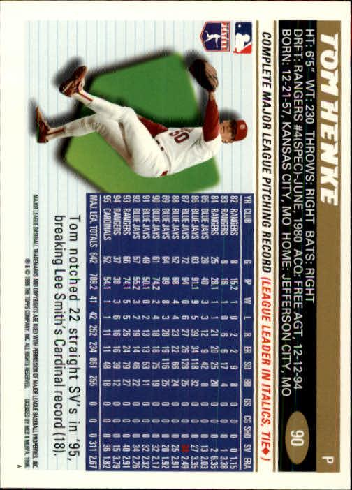 1996 Topps #90 Tom Henke back image