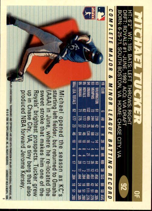 1996 Topps #92 Michael Tucker back image