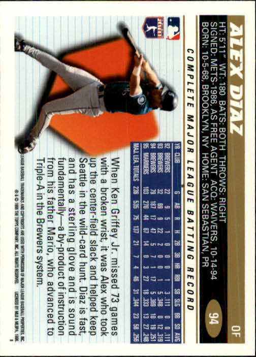 1996 Topps #94 Alex Diaz back image