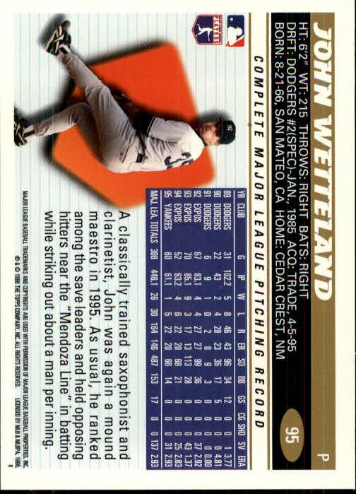 1996 Topps #95 John Wetteland back image
