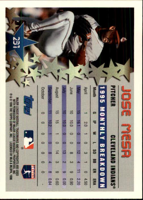 1996 Topps #231 Jose Mesa STP back image