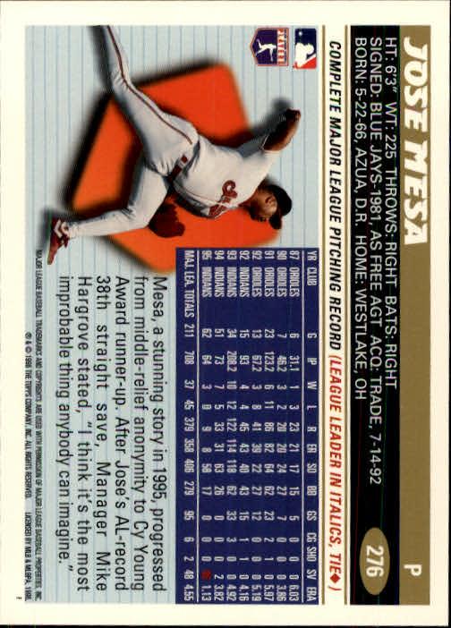 1996 Topps #276 Jose Mesa back image