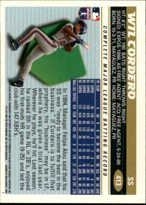1996 Topps #413 Wil Cordero back image