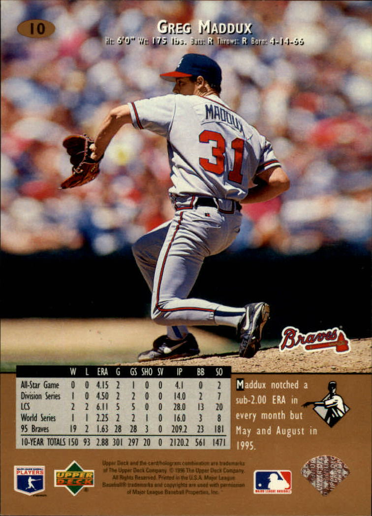 1996 Upper Deck #10 Greg Maddux back image