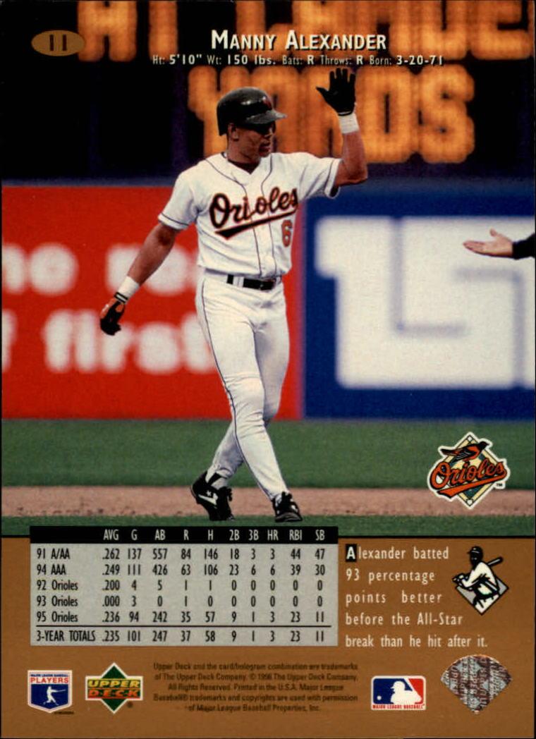 1996 Upper Deck #11 Manny Alexander back image