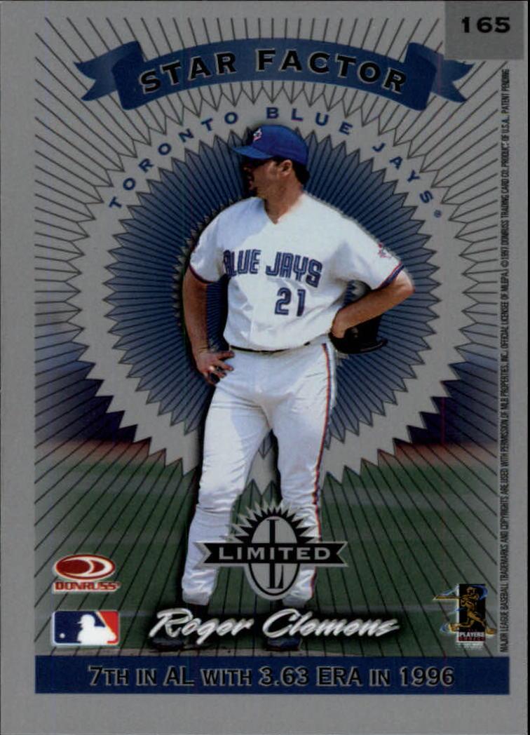 1997 Donruss Limited #165 Roger Clemens S back image