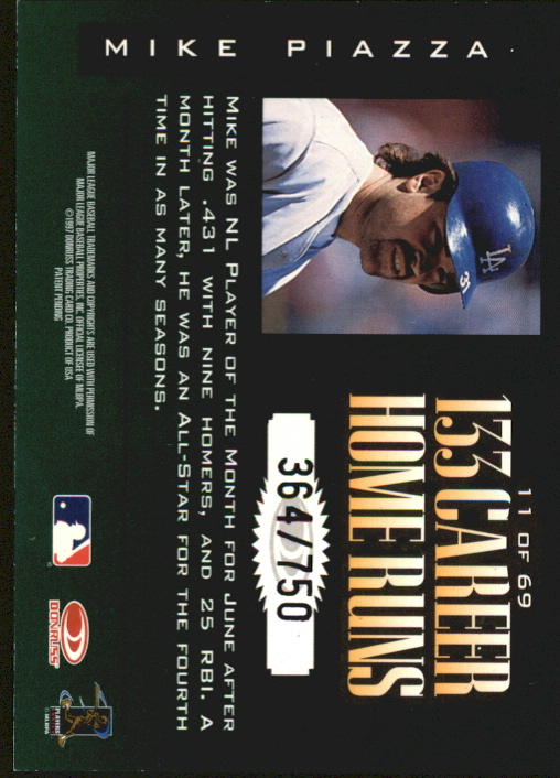 1997 Donruss Limited Fabric of the Game #11 Mike Piazza S back image