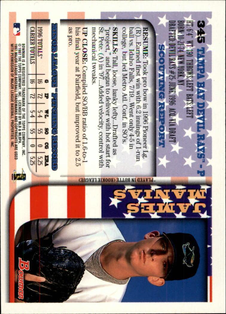 1997 Bowman International #345 James Manias back image