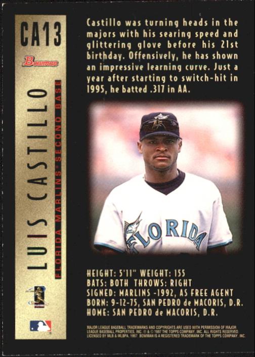 1997 Bowman Certified Black Ink Autographs #CA13 Luis Castillo back image
