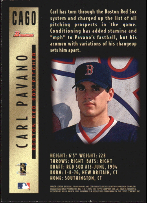 1997 Bowman Certified Black Ink Autographs #CA60 Carl Pavano back image