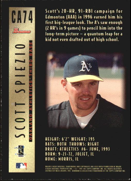 1997 Bowman Certified Black Ink Autographs #CA74 Scott Spiezio back image