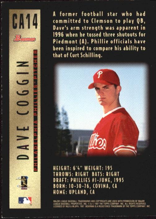 1997 Bowman Certified Gold Ink Autographs #CA14 Dave Coggin back image