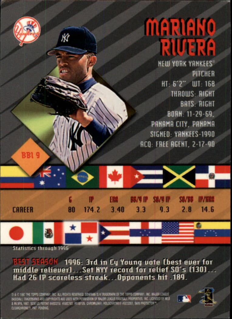 1997 Bowman International Best #BBI9 Mariano Rivera back image