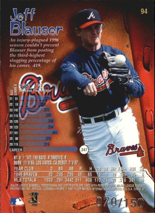 1997 Circa Rave #94 Jeff Blauser back image